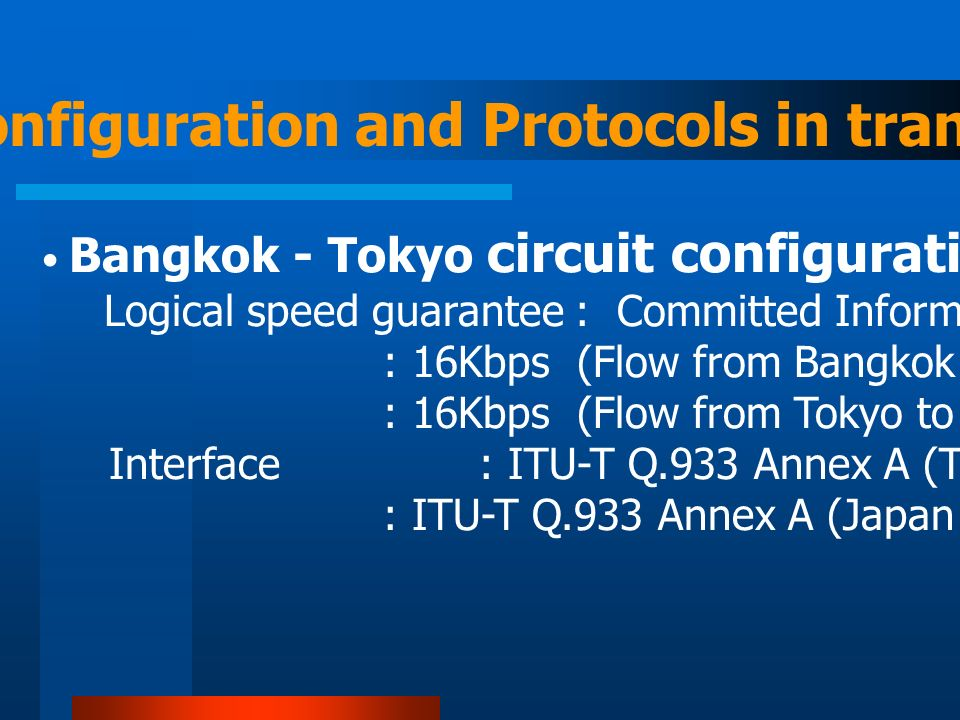 Circuit configuration and Protocols in transport Bangkok - Tokyo circuit configuration in logical level (next) Logical speed guarantee : Committed Information Rate (CIR) : 16Kbps (Flow from Bangkok to Tokyo) : 16Kbps (Flow from Tokyo to Bangkok) Interface : ITU-T Q.933 Annex A (Thailand portion) : ITU-T Q.933 Annex A (Japan portion)