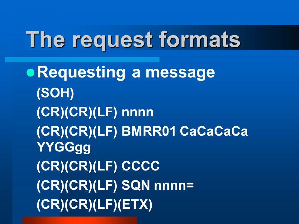 The request formats Requesting a message (SOH) (CR)(CR)(LF) nnnn (CR)(CR)(LF) BMRR01 CaCaCaCa YYGGgg (CR)(CR)(LF) CCCC (CR)(CR)(LF) SQN nnnn= (CR)(CR)(LF)(ETX)