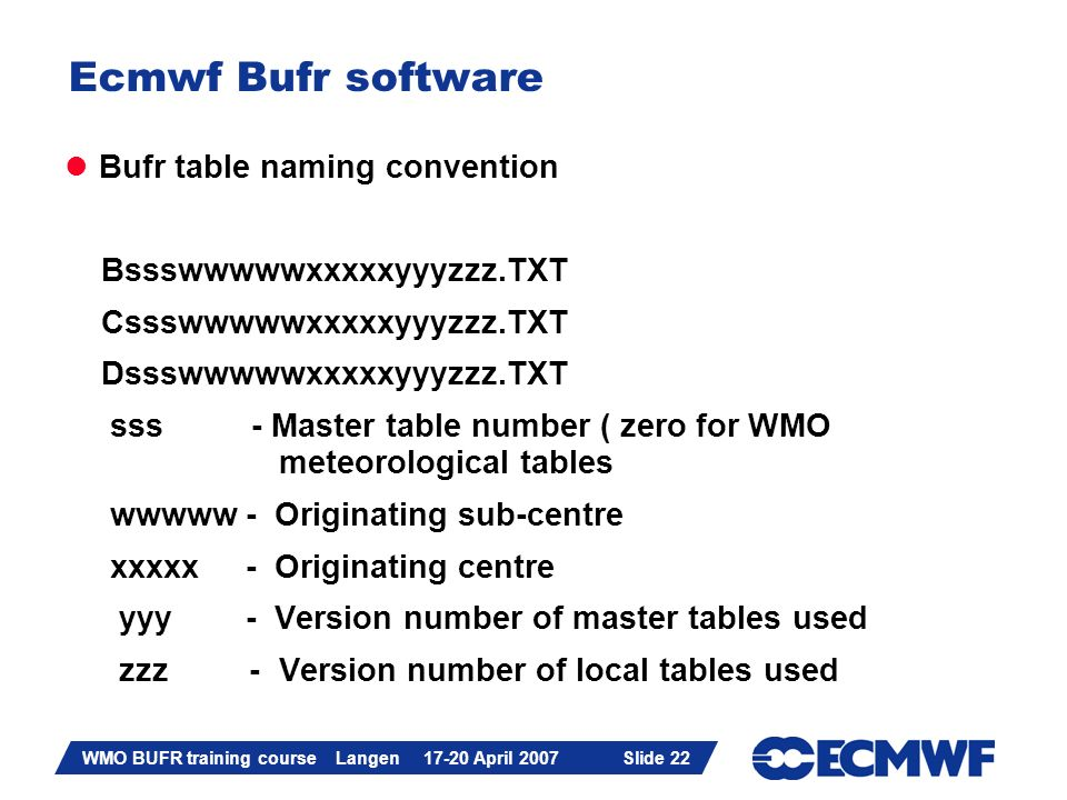 Slide 22 WMO BUFR training course Langen 17-20 April 2007 Slide 22 Ecmwf Bufr software Bufr table naming convention Bssswwwwwxxxxxyyyzzz.TXT Cssswwwww