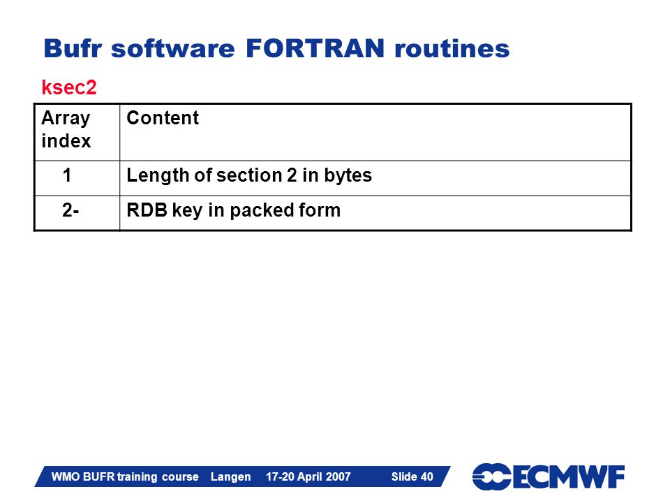 Slide 40 WMO BUFR training course Langen 17-20 April 2007 Slide 40 Bufr software FORTRAN routines Array index Content 1Length of section 2 in bytes 2-