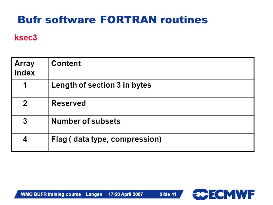 Slide 41 WMO BUFR training course Langen 17-20 April 2007 Slide 41 Bufr software FORTRAN routines ksec3 Array index Content 1Length of section 3 in by