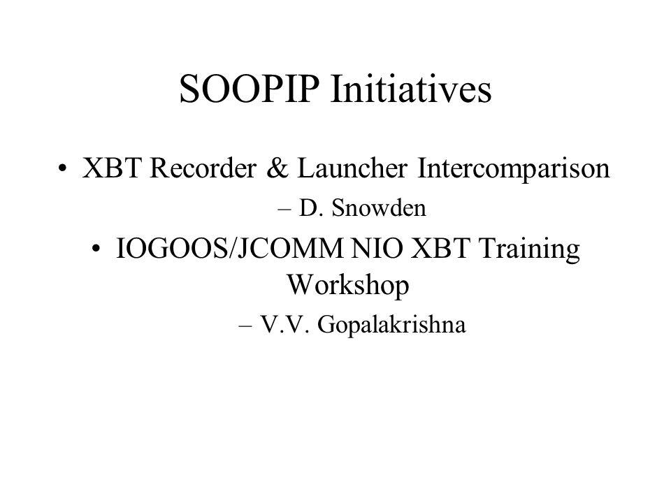 SOOPIP Initiatives XBT Recorder & Launcher Intercomparison –D.