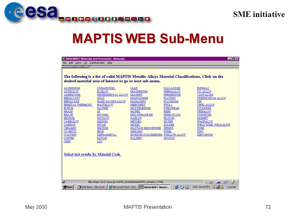 SME initiative May 2000MAPTIS Presentation72 MAPTIS WEB Sub-Menu