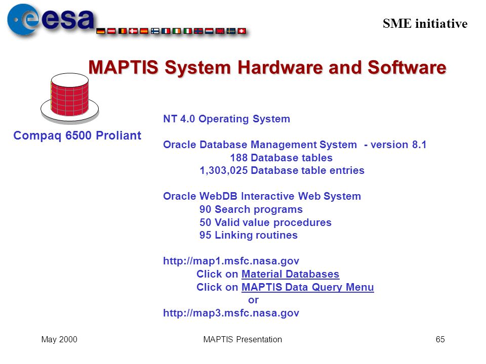 SME initiative May 2000MAPTIS Presentation65 MAPTIS System Hardware and Software NT 4.0 Operating System Oracle Database Management System - version 8