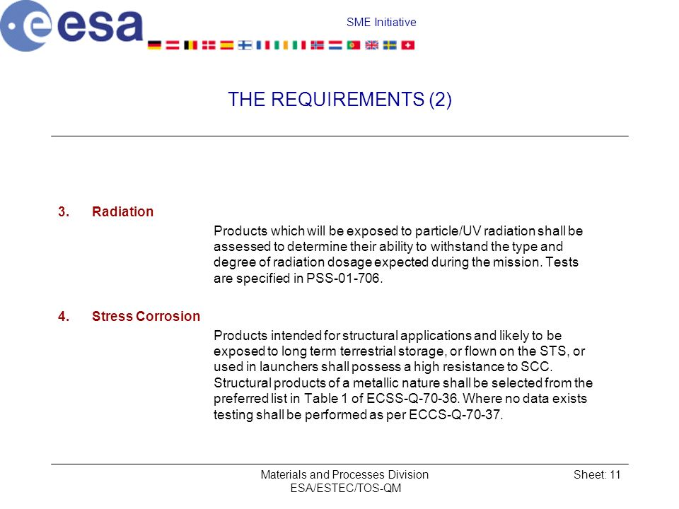 SME Initiative Materials and Processes Division ESA/ESTEC/TOS-QM Sheet: 11 THE REQUIREMENTS (2) 3.Radiation Products which will be exposed to particle/UV radiation shall be assessed to determine their ability to withstand the type and degree of radiation dosage expected during the mission.