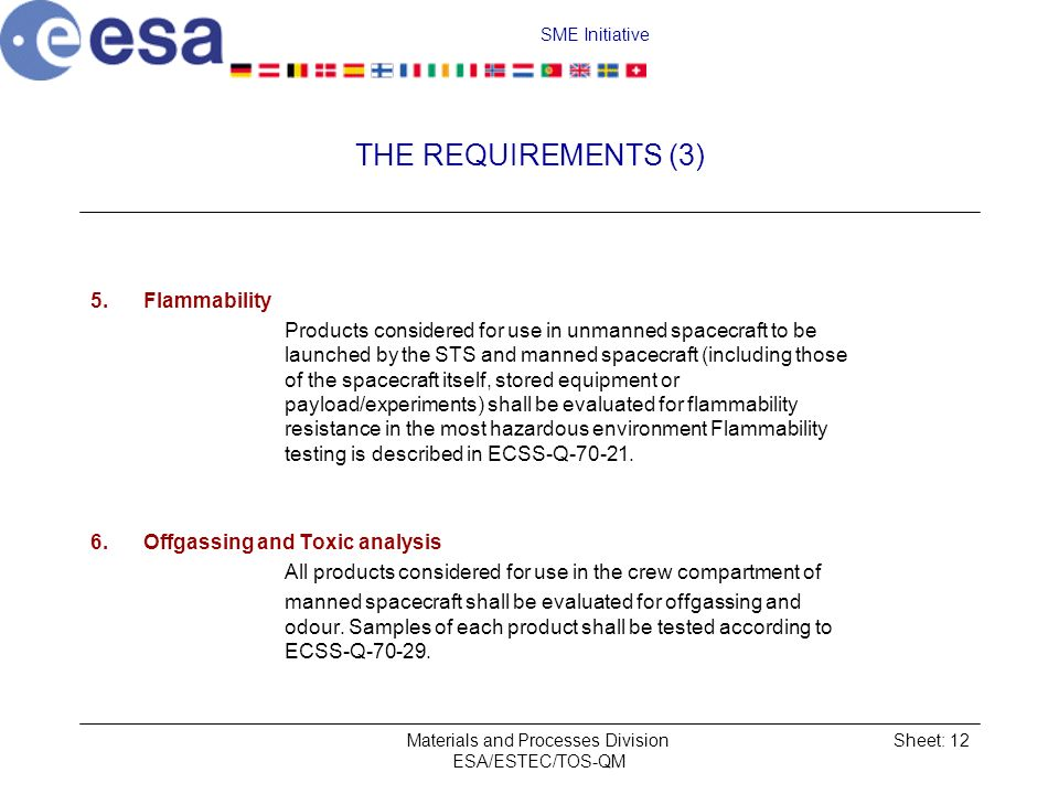 SME Initiative Materials and Processes Division ESA/ESTEC/TOS-QM Sheet: 12 THE REQUIREMENTS (3) 5.Flammability Products considered for use in unmanned spacecraft to be launched by the STS and manned spacecraft (including those of the spacecraft itself, stored equipment or payload/experiments) shall be evaluated for flammability resistance in the most hazardous environment Flammability testing is described in ECSS-Q-70-21.