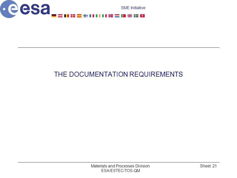 SME Initiative Materials and Processes Division ESA/ESTEC/TOS-QM Sheet: 21 THE DOCUMENTATION REQUIREMENTS