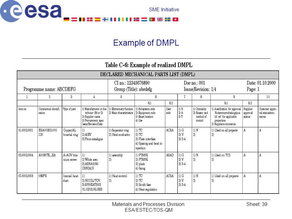 SME Initiative Materials and Processes Division ESA/ESTEC/TOS-QM Sheet: 39 Example of DMPL