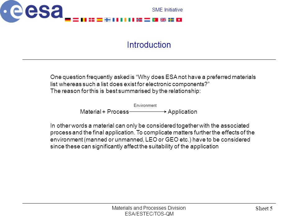 SME Initiative Materials and Processes Division ESA/ESTEC/TOS-QM Sheet 6 Example 1 For example: Solithane 113 + Process PCB Conformal Coating (Polyurethane) (24 hr 65 °C) This combination is widely used in spacecraft application.