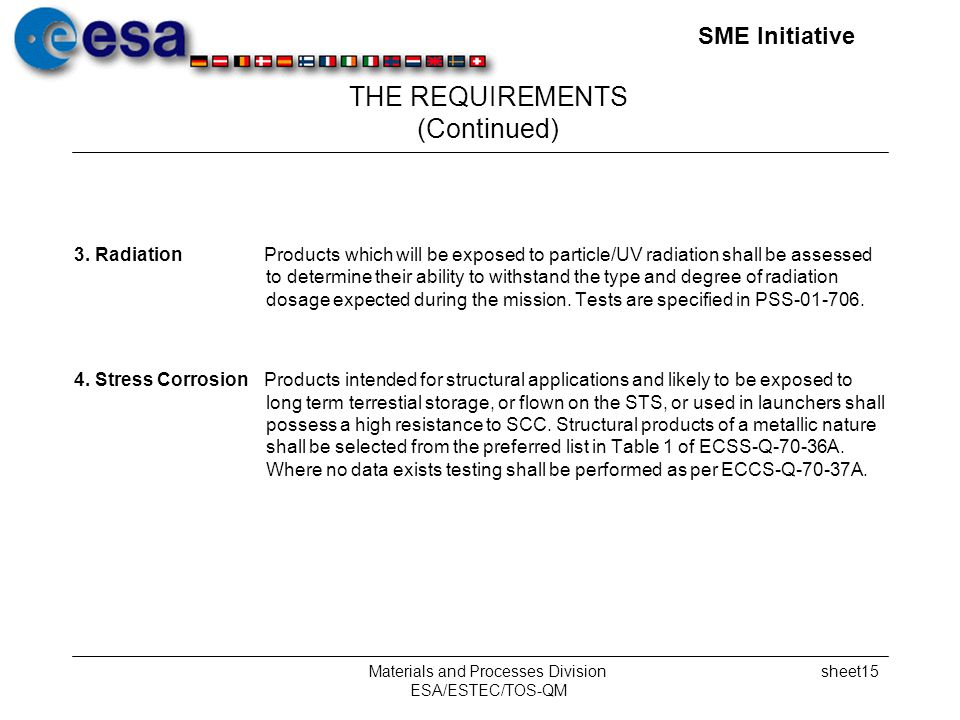 SME Initiative Materials and Processes Division ESA/ESTEC/TOS-QM sheet15 THE REQUIREMENTS (Continued) 3.