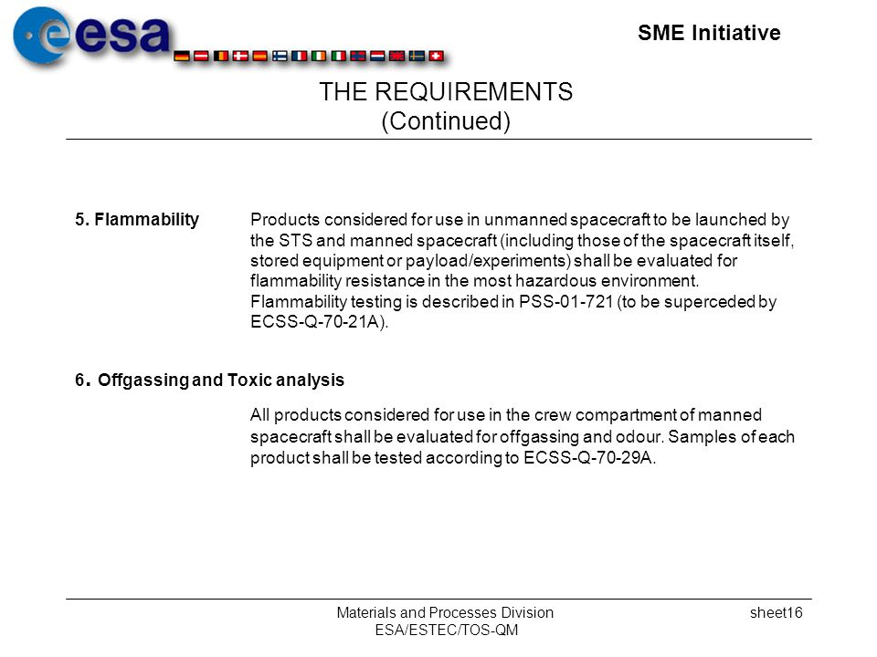 SME Initiative Materials and Processes Division ESA/ESTEC/TOS-QM sheet16 THE REQUIREMENTS (Continued) 5.