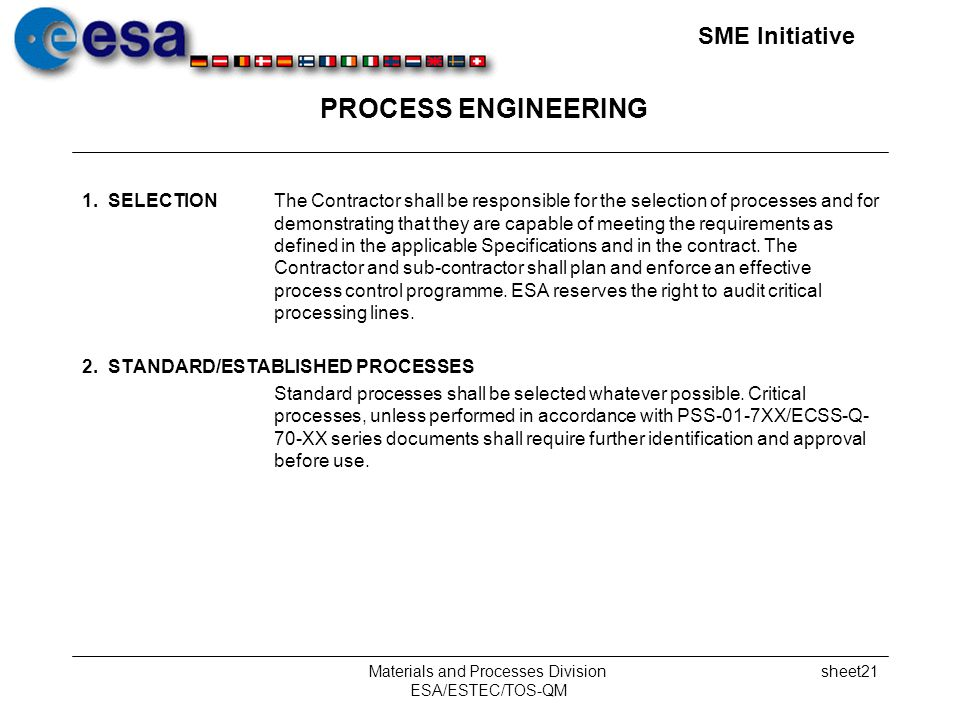 SME Initiative Materials and Processes Division ESA/ESTEC/TOS-QM sheet21 PROCESS ENGINEERING 1.