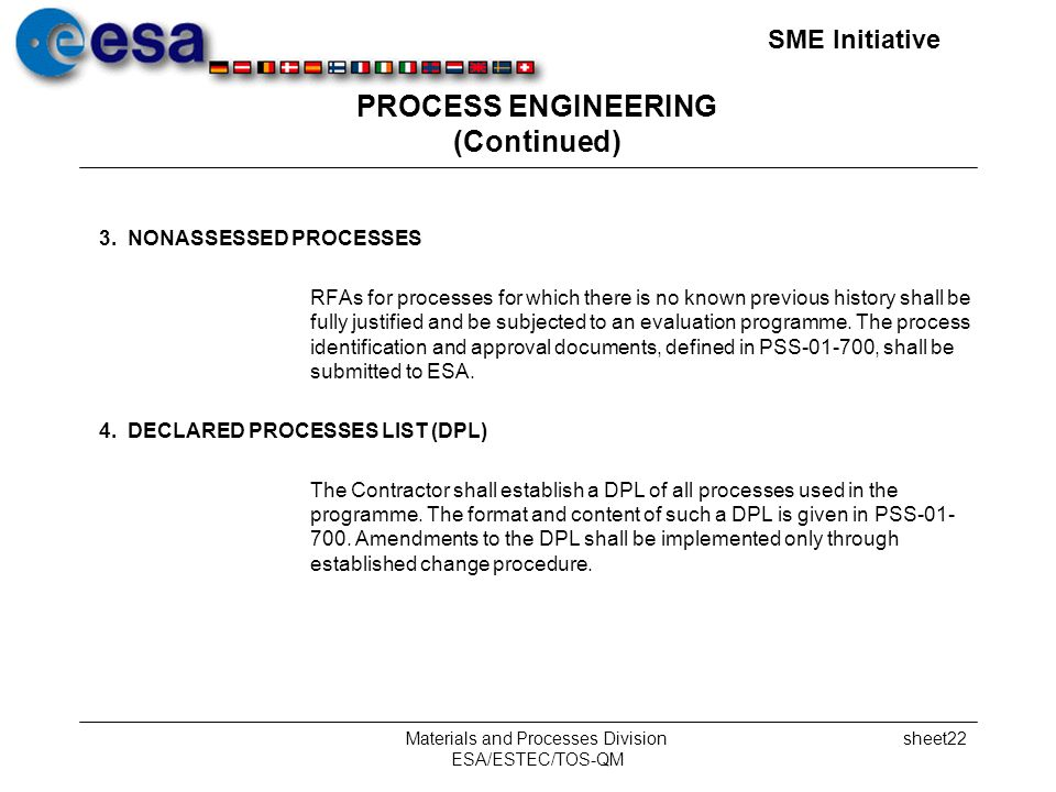 SME Initiative Materials and Processes Division ESA/ESTEC/TOS-QM sheet22 PROCESS ENGINEERING (Continued) 3.