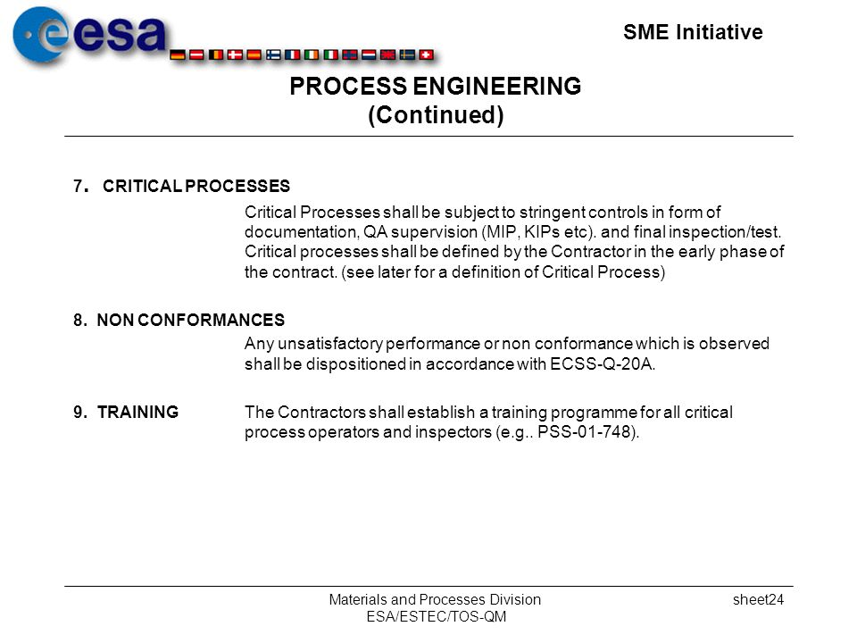 SME Initiative Materials and Processes Division ESA/ESTEC/TOS-QM sheet24 PROCESS ENGINEERING (Continued) 7.