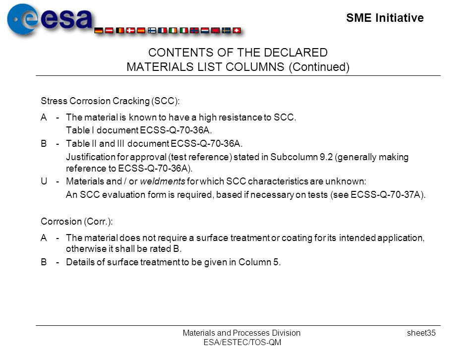 SME Initiative Materials and Processes Division ESA/ESTEC/TOS-QM sheet35 CONTENTS OF THE DECLARED MATERIALS LIST COLUMNS (Continued) Stress Corrosion Cracking (SCC): A-The material is known to have a high resistance to SCC.