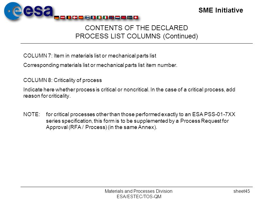 SME Initiative Materials and Processes Division ESA/ESTEC/TOS-QM sheet45 CONTENTS OF THE DECLARED PROCESS LIST COLUMNS (Continued) COLUMN 7: Item in materials list or mechanical parts list Corresponding materials list or mechanical parts list item number.