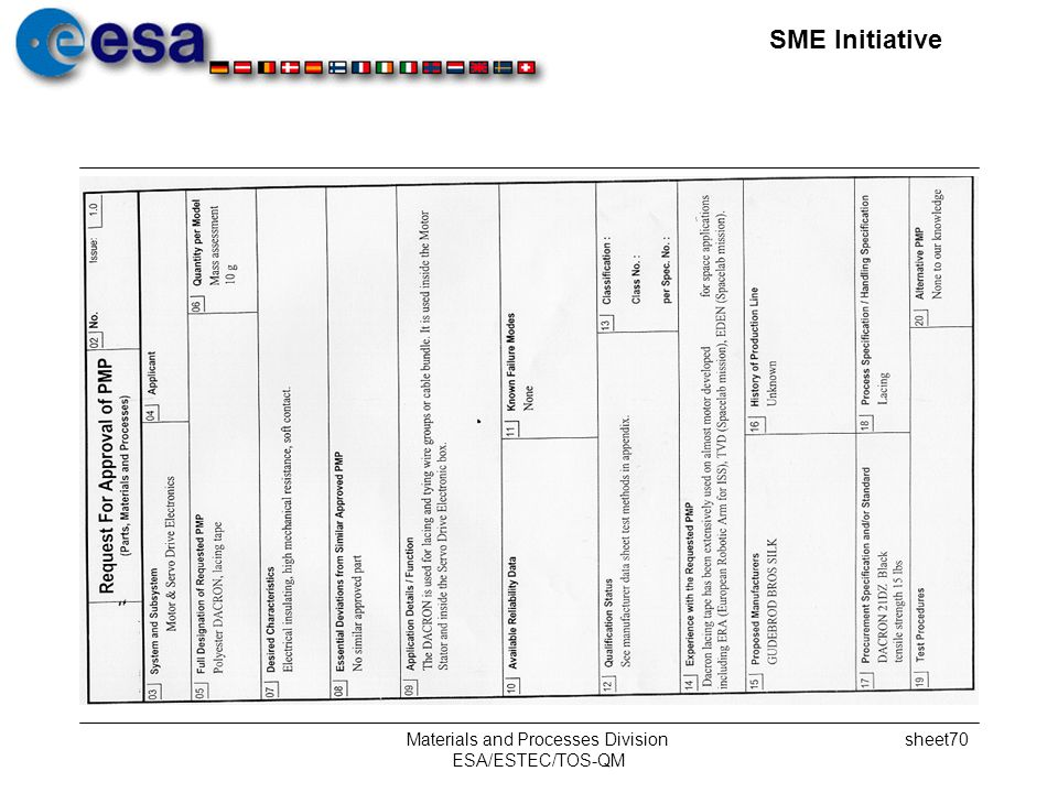SME Initiative Materials and Processes Division ESA/ESTEC/TOS-QM sheet70