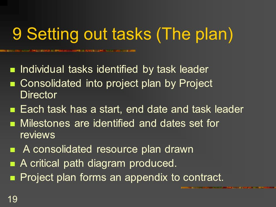 19 9 Setting out tasks (The plan) Individual tasks identified by task leader Consolidated into project plan by Project Director Each task has a start,