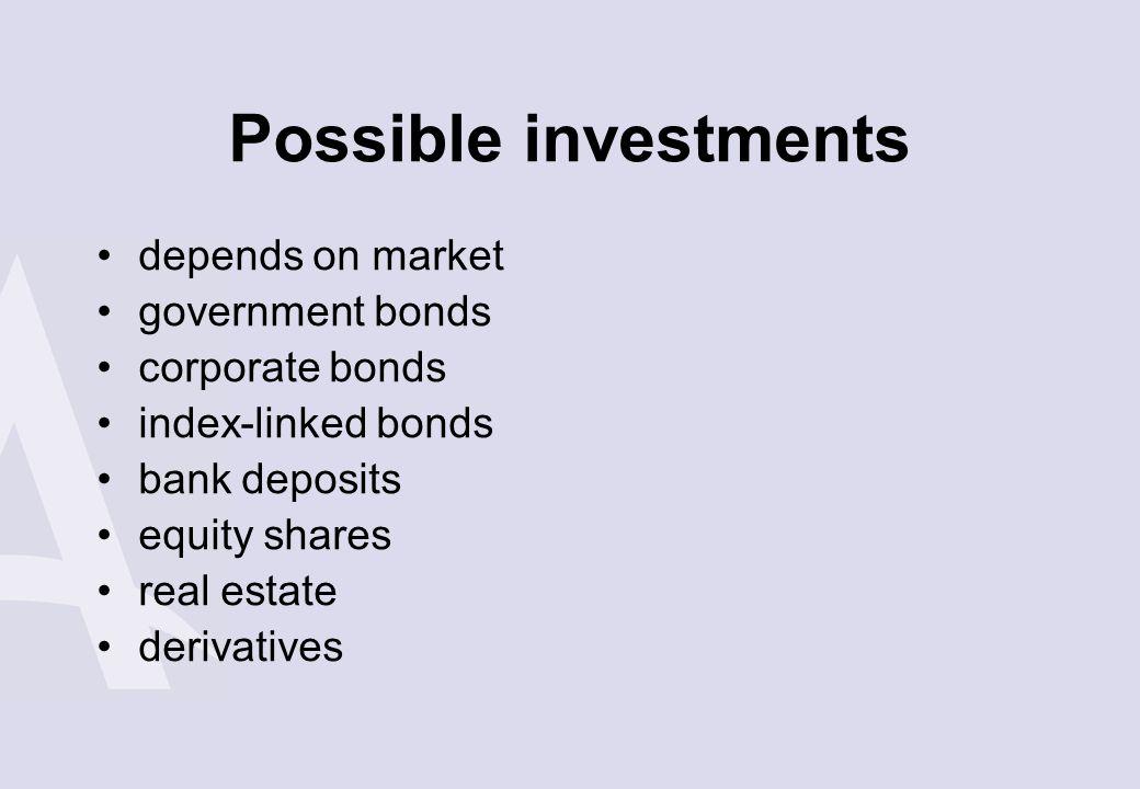 Possible investments depends on market government bonds corporate bonds index-linked bonds bank deposits equity shares real estate derivatives