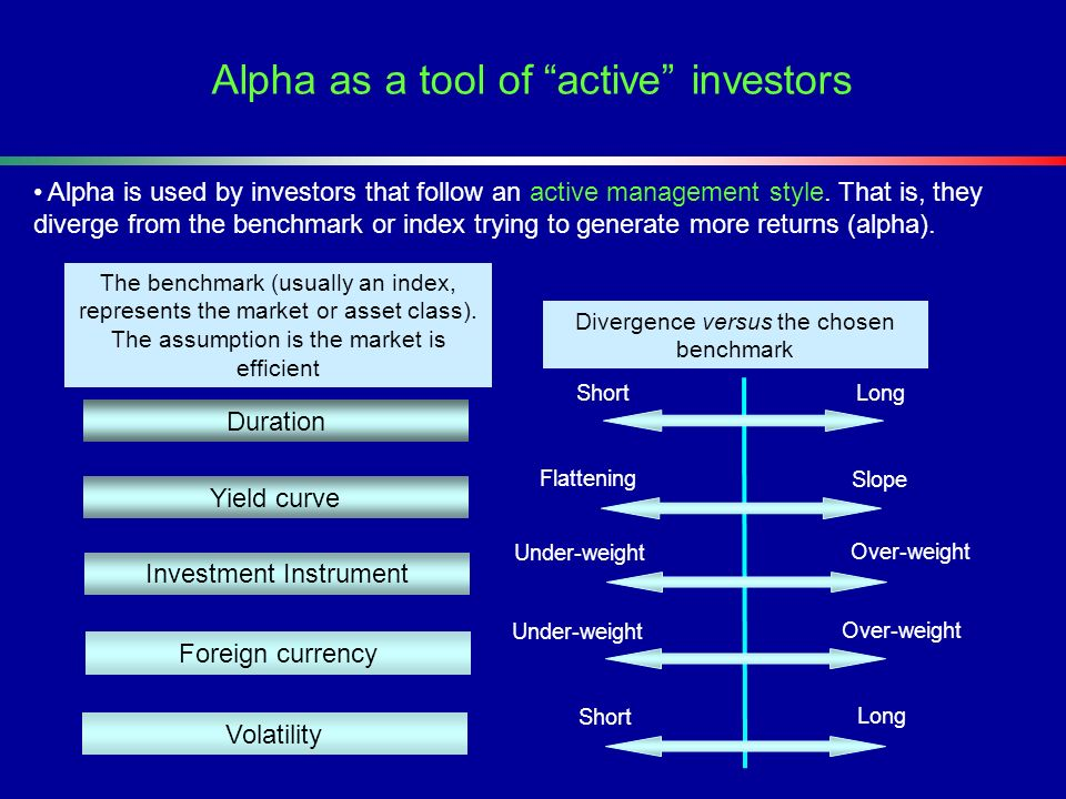 Alpha as a tool of active investors The benchmark (usually an index, represents the market or asset class). The assumption is the market is efficient