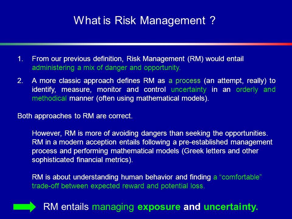 Risk Topology in the Investment Management context Investment Risks Liquidity Operational Regulatory Human Factor Market Risk Credit Portfolio Concentration Issuer Counterparty Risk Equity/commodity (price) Interest Rates Currency Legal Systemic