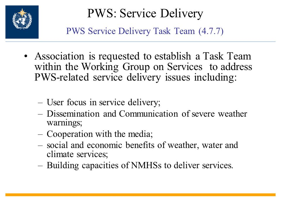 PWS: Service Delivery PWS Service Delivery Task Team (4.7.7) Association is requested to establish a Task Team within the Working Group on Services to