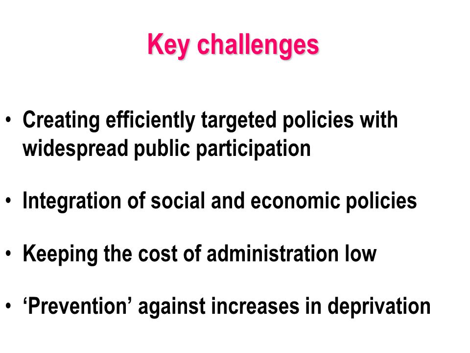 Creating efficiently targeted policies with widespread public participation Integration of social and economic policies Keeping the cost of administration low Prevention against increases in deprivation Key challenges