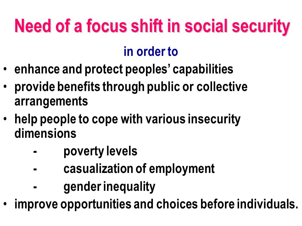 in order to enhance and protect peoples capabilities provide benefits through public or collective arrangements help people to cope with various insecurity dimensions -poverty levels -casualization of employment -gender inequality improve opportunities and choices before individuals.
