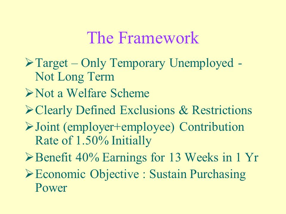 The Framework Target – Only Temporary Unemployed - Not Long Term Not a Welfare Scheme Clearly Defined Exclusions & Restrictions Joint (employer+employee) Contribution Rate of 1.50% Initially Benefit 40% Earnings for 13 Weeks in 1 Yr Economic Objective : Sustain Purchasing Power