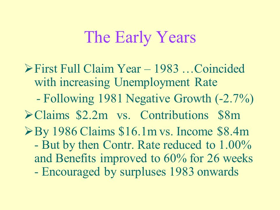 The Early Years First Full Claim Year – 1983 …Coincided with increasing Unemployment Rate - Following 1981 Negative Growth (-2.7%) Claims $2.2m vs.