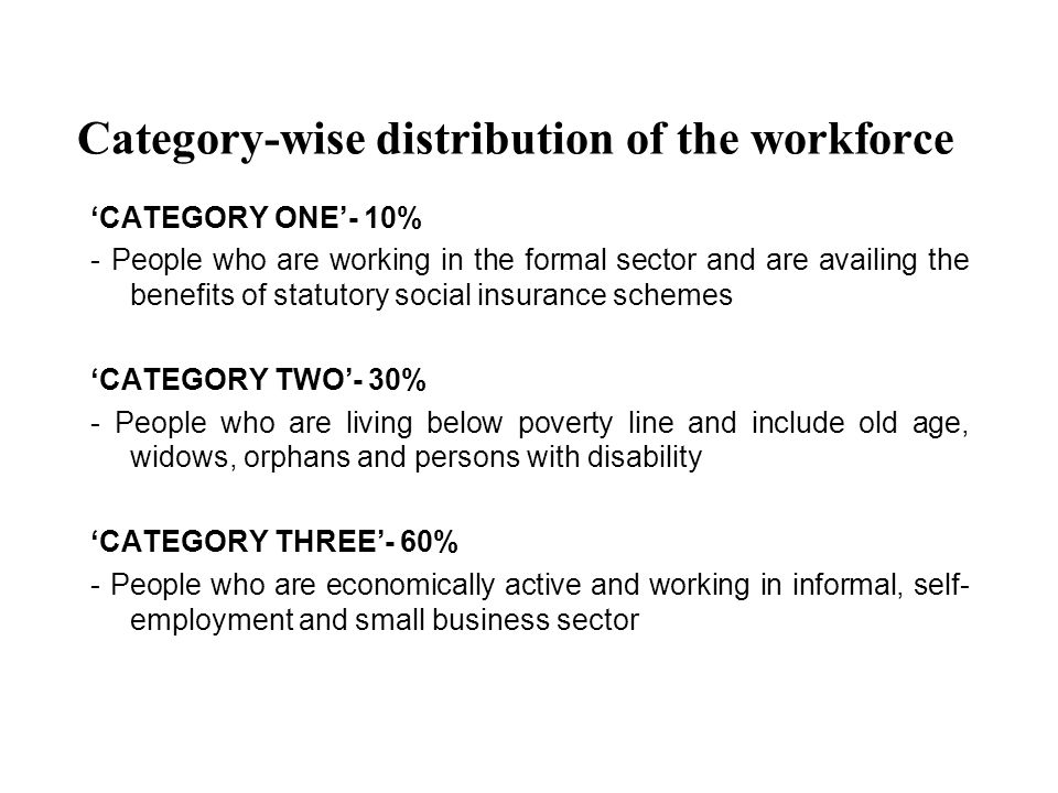 Category-wise distribution of the workforce CATEGORY ONE- 10% - People who are working in the formal sector and are availing the benefits of statutory social insurance schemes CATEGORY TWO- 30% - People who are living below poverty line and include old age, widows, orphans and persons with disability CATEGORY THREE- 60% - People who are economically active and working in informal, self- employment and small business sector