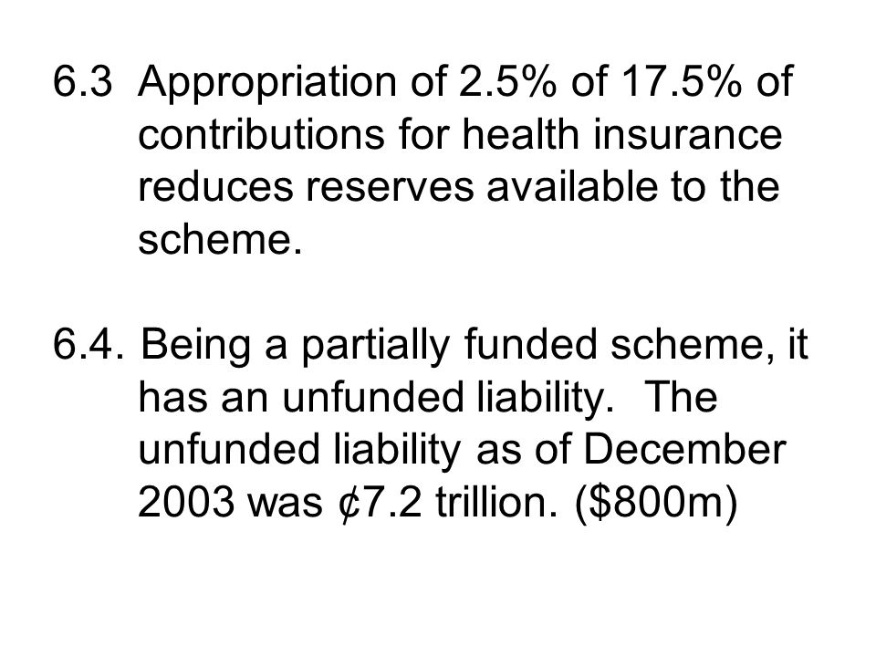 6.3 Appropriation of 2.5% of 17.5% of contributions for health insurance reduces reserves available to the scheme.
