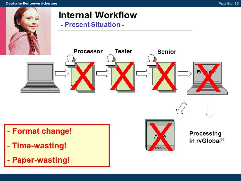 Peter Batt | 3 Internal Workflow - Present Situation - Akte 25 350554 K 051 Tester Senior Eingabe - Format change.