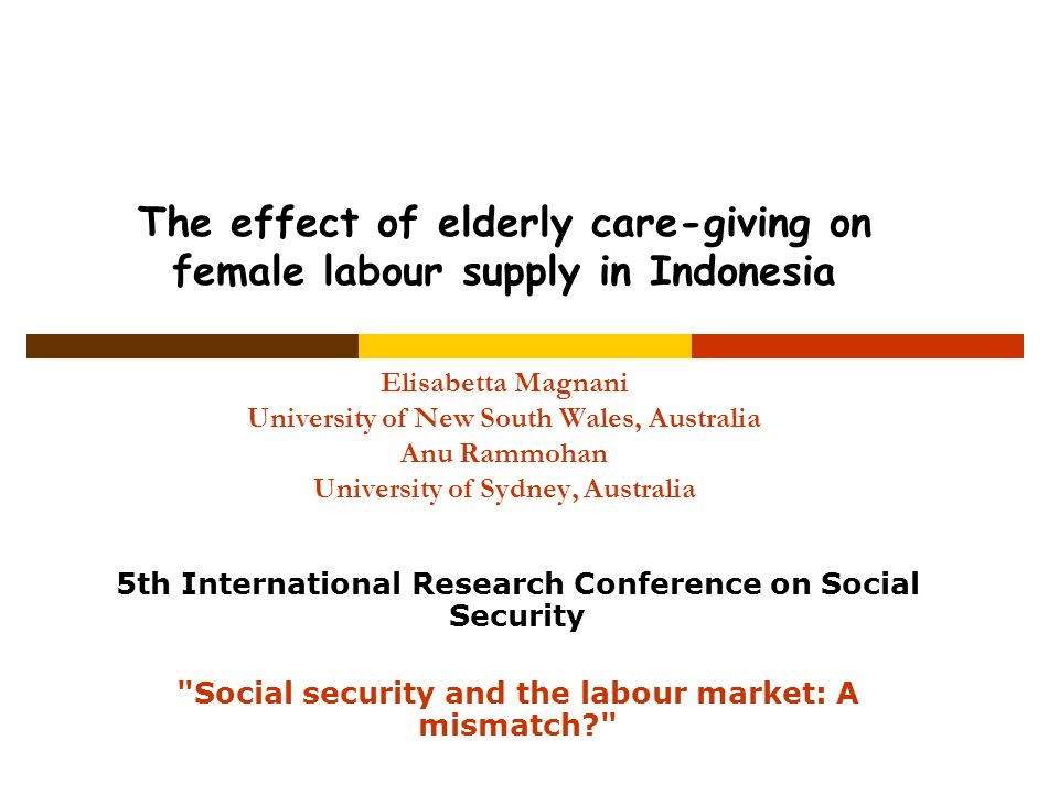 The effect of elderly care-giving on female labour supply in Indonesia Elisabetta Magnani University of New South Wales, Australia Anu Rammohan Univer