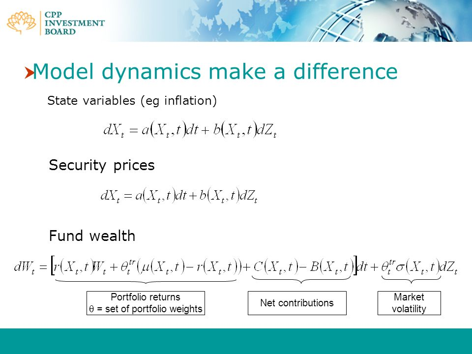 Model dynamics make a difference State variables (eg inflation) Portfolio returns = set of portfolio weights Net contributions Market volatility Secur