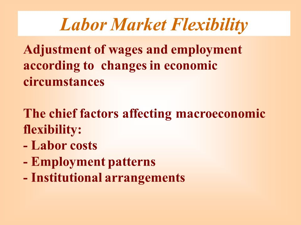 Labor Market Flexibility Adjustment of wages and employment according to changes in economic circumstances The chief factors affecting macroeconomic f