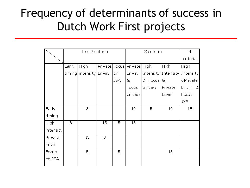 Frequency of determinants of success in Dutch Work First projects