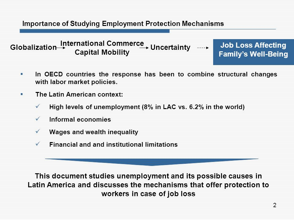 2 Importance of Studying Employment Protection Mechanisms In OECD countries the response has been to combine structural changes with labor market poli
