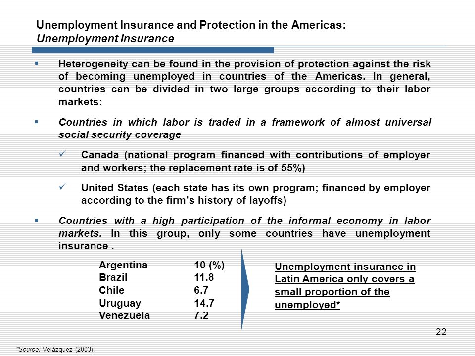 22 Unemployment Insurance and Protection in the Americas: Unemployment Insurance Heterogeneity can be found in the provision of protection against the