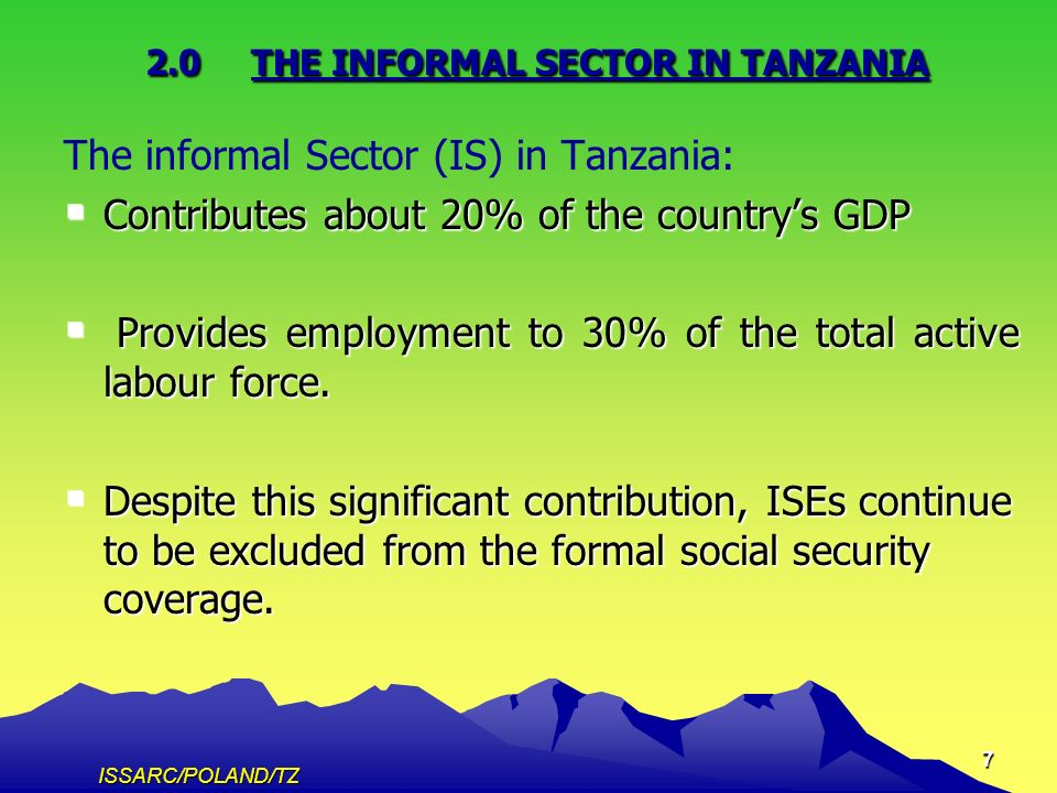 ISSARC/POLAND/TZ 7 2.0THE INFORMAL SECTOR IN TANZANIA The informal Sector (IS) in Tanzania: Contributes about 20% of the countrys GDP Contributes about 20% of the countrys GDP Provides employment to 30% of the total active labour force.