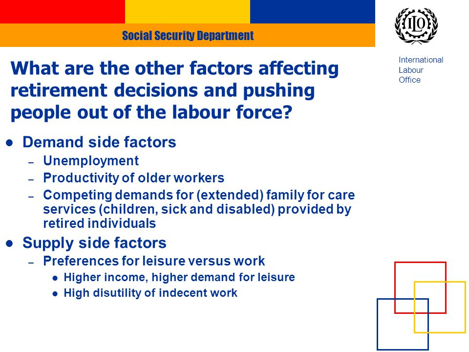 Social Security Department International Labour Office Demand side factors – Unemployment – Productivity of older workers – Competing demands for (extended) family for care services (children, sick and disabled) provided by retired individuals Supply side factors – Preferences for leisure versus work Higher income, higher demand for leisure High disutility of indecent work What are the other factors affecting retirement decisions and pushing people out of the labour force