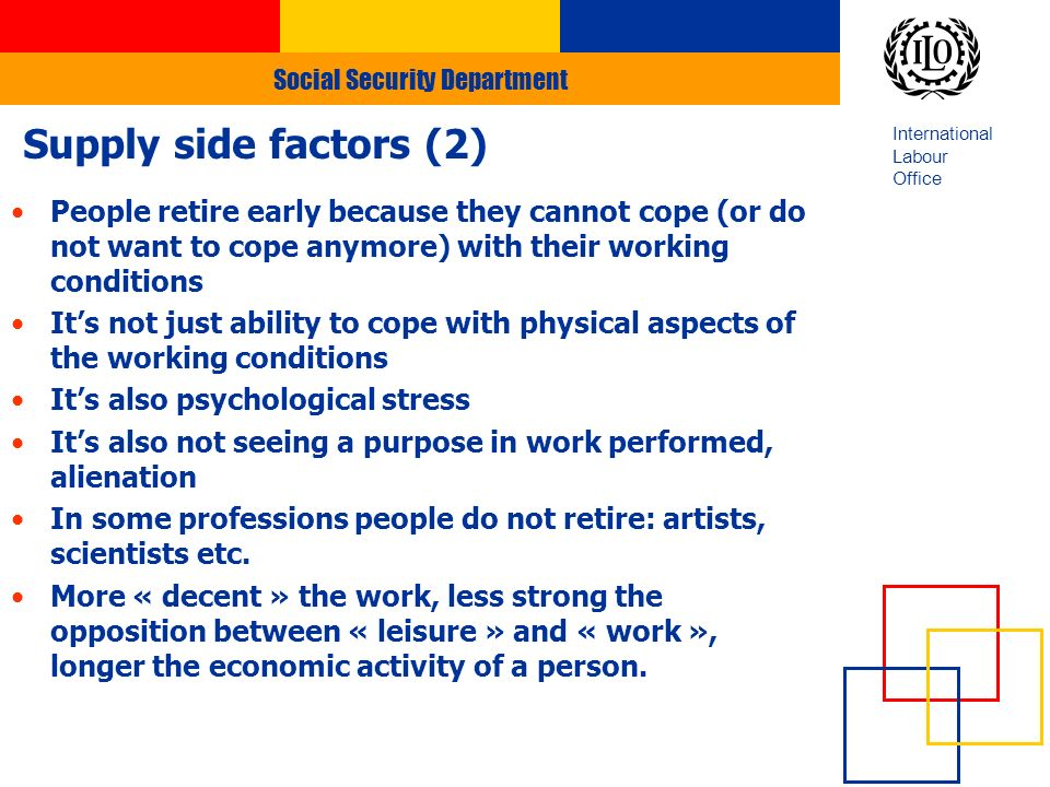 Social Security Department International Labour Office Supply side factors (2) People retire early because they cannot cope (or do not want to cope anymore) with their working conditions Its not just ability to cope with physical aspects of the working conditions Its also psychological stress Its also not seeing a purpose in work performed, alienation In some professions people do not retire: artists, scientists etc.