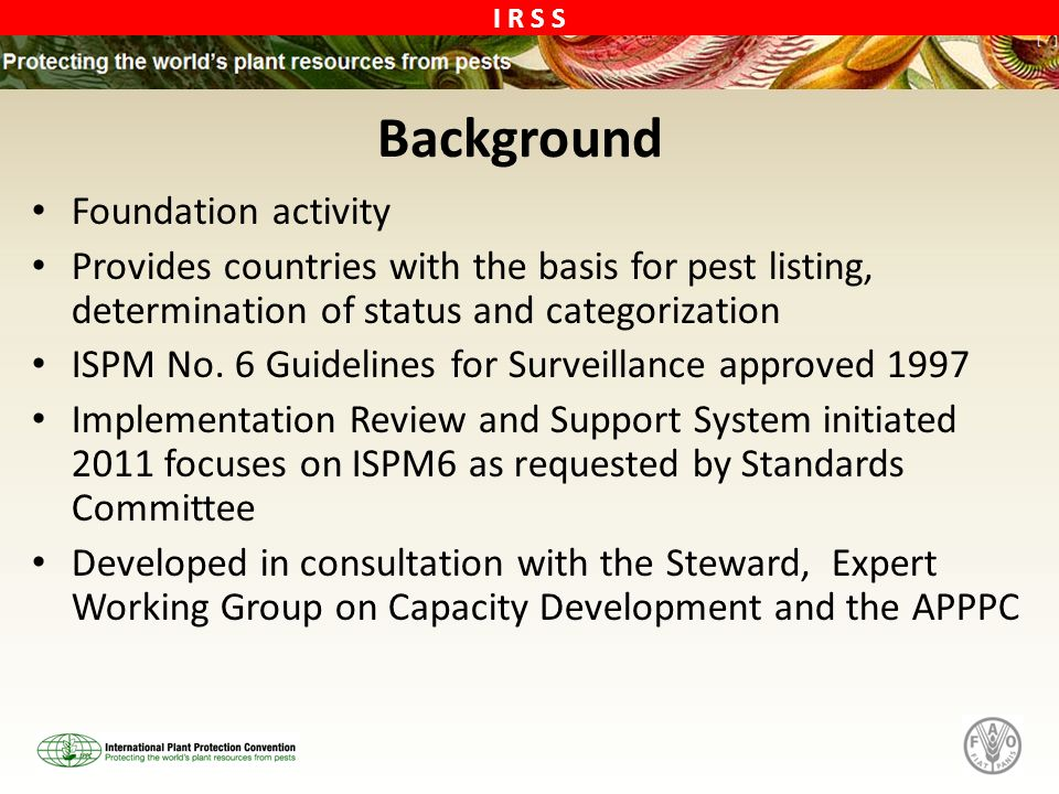 I R S S Background Foundation activity Provides countries with the basis for pest listing, determination of status and categorization ISPM No.