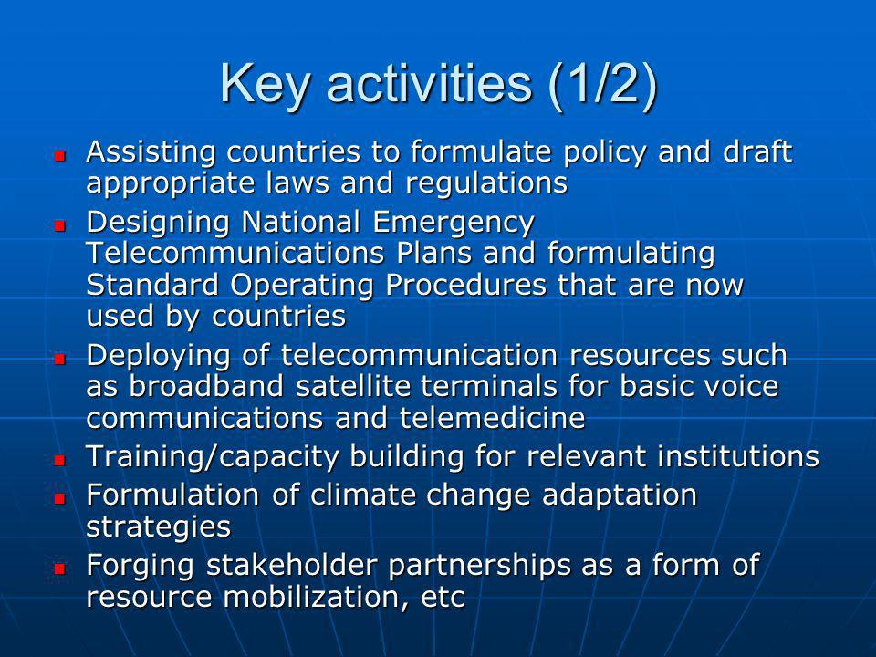 Key activities (1/2) Assisting countries to formulate policy and draft appropriate laws and regulations Assisting countries to formulate policy and dr