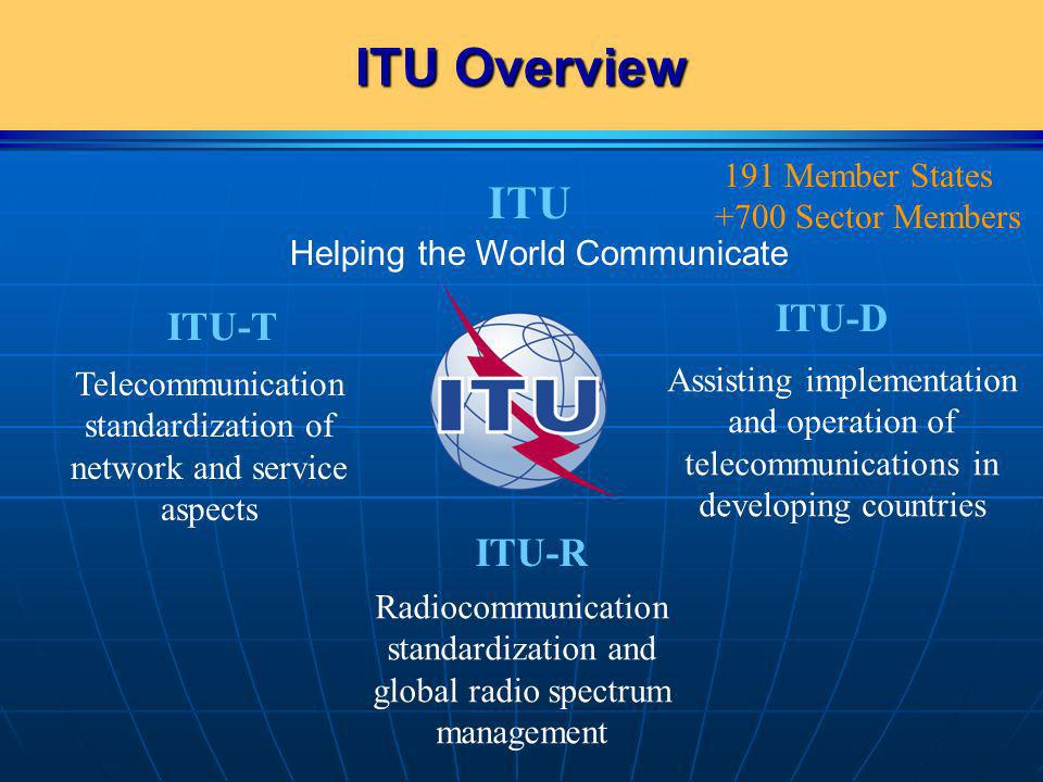 ITU Overview ITU ITU-T Telecommunication standardization of network and service aspects ITU-R Radiocommunication standardization and global radio spec