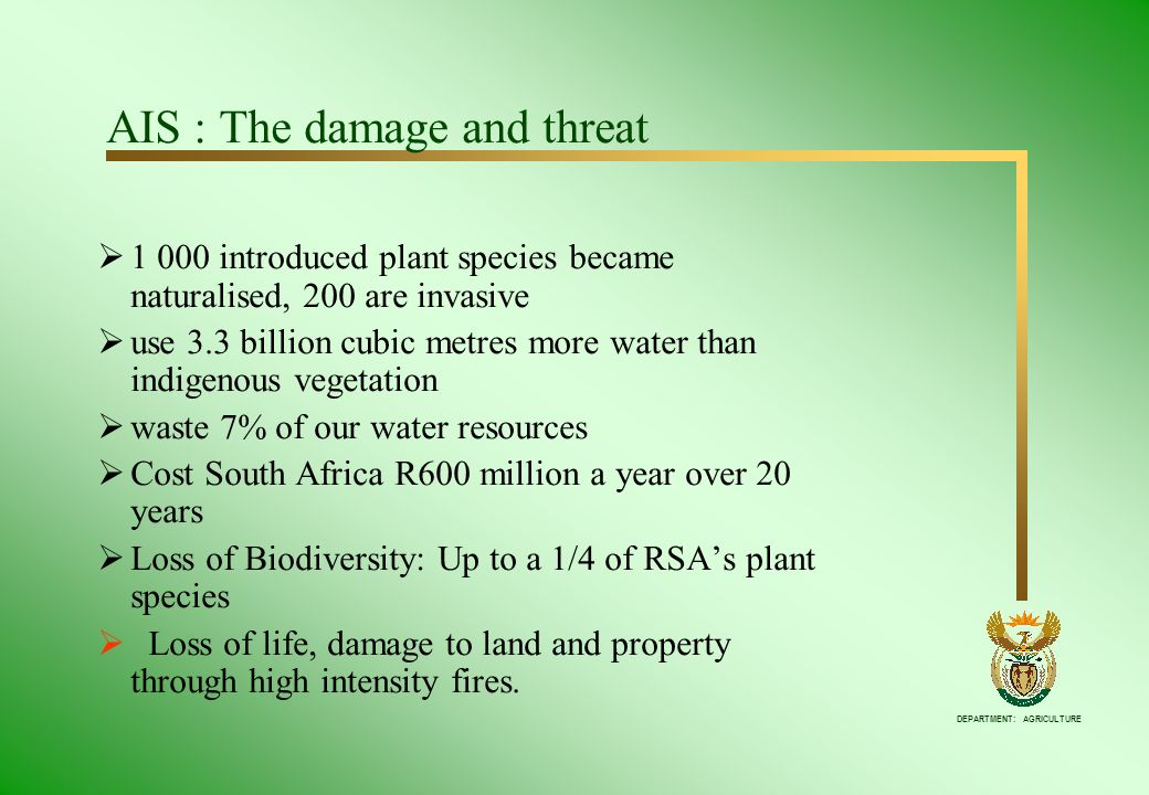 DEPARTMENT: AGRICULTURE AIS : The damage and threat 1 000 introduced plant species became naturalised, 200 are invasive use 3.3 billion cubic metres m