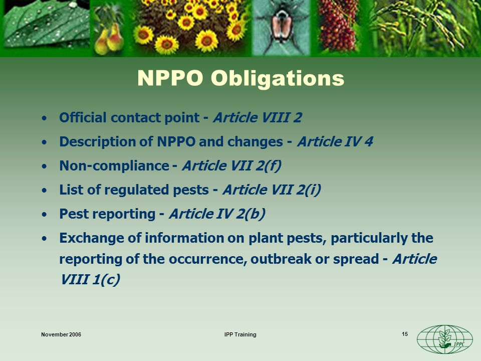 November 2006IPP Training 15 NPPO Obligations Official contact point - Article VIII 2 Description of NPPO and changes - Article IV 4 Non-compliance - Article VII 2(f) List of regulated pests - Article VII 2(i) Pest reporting - Article IV 2(b) Exchange of information on plant pests, particularly the reporting of the occurrence, outbreak or spread - Article VIII 1(c)