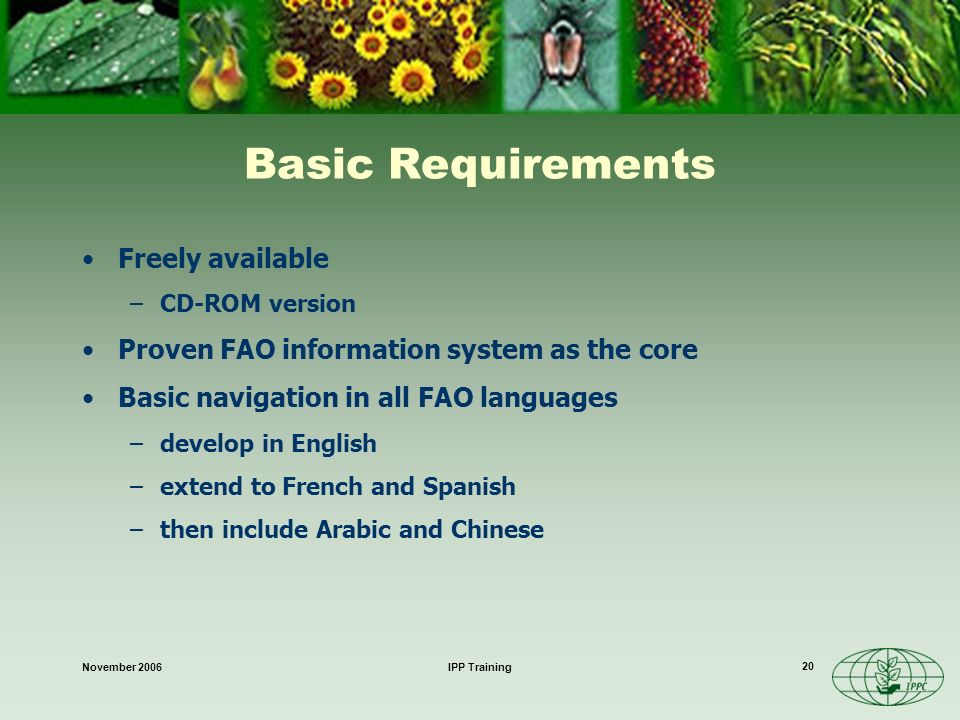 November 2006IPP Training 20 Basic Requirements Freely available –CD-ROM version Proven FAO information system as the core Basic navigation in all FAO languages –develop in English –extend to French and Spanish –then include Arabic and Chinese