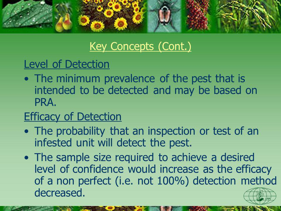 Key Concepts (Cont.) Level of Detection The minimum prevalence of the pest that is intended to be detected and may be based on PRA.