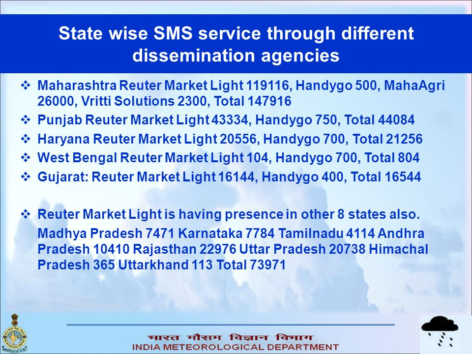 State wise SMS service through different dissemination agencies Maharashtra Reuter Market Light 119116, Handygo 500, MahaAgri 26000, Vritti Solutions 2300, Total 147916 Punjab Reuter Market Light 43334, Handygo 750, Total 44084 Haryana Reuter Market Light 20556, Handygo 700, Total 21256 West Bengal Reuter Market Light 104, Handygo 700, Total 804 Gujarat: Reuter Market Light 16144, Handygo 400, Total 16544 Reuter Market Light is having presence in other 8 states also.